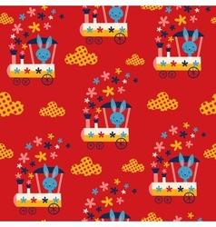 Bunny train kids seamless pattern vector