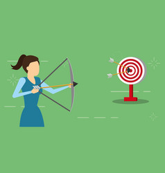 business woman with bow arrow and target vector image