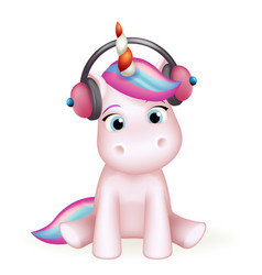 cartoon cute unicorn headphones listen music vector image