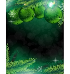 Christmas decorations on a green background vector image