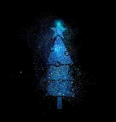 christmas pine tree shape in blue glitter vector image