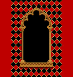 classic gothic decorative frame on red and black vector image