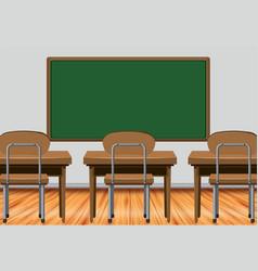 Classroom scene with desks and blackboard vector