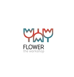 Creative gradient logo on a floral studio vector