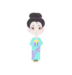 Cute young japan nation girl with white face and vector