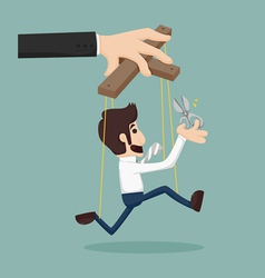 Cutting the strings of a business man puppet givin vector image