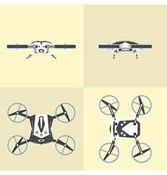 Different views of drone on isolated background vector image