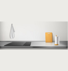 Electric stove on kitchen counter top with rag vector