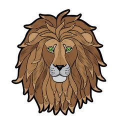 Embroidery lion head patch vector