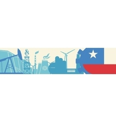 Energy and Power icons set Chile flag vector