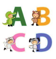 English alphabet with kids in animal costume a-d vector