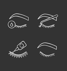 Eyelash extension chalk icons set vector