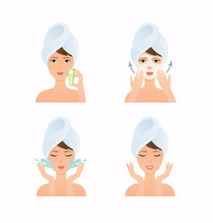 Face care routine girl have a mask and care vector