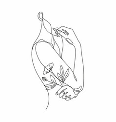Face with flowers line drawing art woman vector