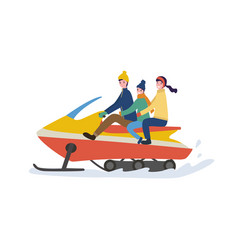 family winter riding outdoor on snowmobile vector image
