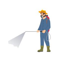 Farmer spraying chemicals isolated cartoon icon vector