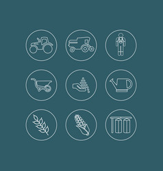 farming and agriculture line icons vector image