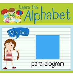 Flashcard letter p is for parallelogram vector