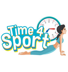 Font design for word time for sport with woman vector