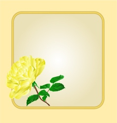 Golden frame with yellow rose greeting card festi vector