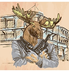 Gunman Elk - An hand drawn Line art vector