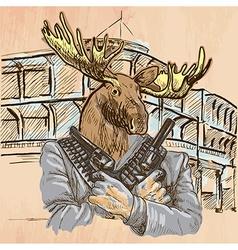 Gunman elk - an hand drawn line art vector