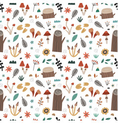 hand drawn nature elements seamless pattern vector image