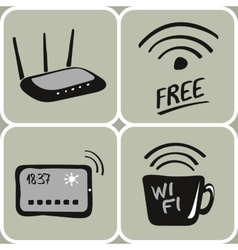 hand drawn wifi icons vector image