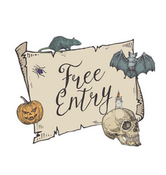 Happy halloween free entry banner template vector