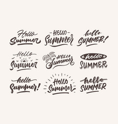 hello summer vintage roughen hand lettering vector image