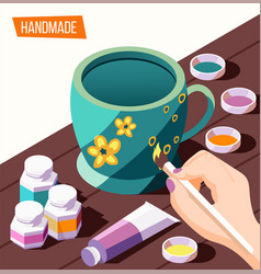 Hobby crafts isometric background vector