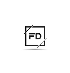 initial letter fd logo template design vector image