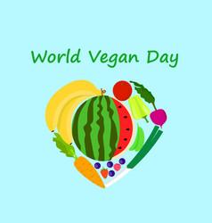 international vegan day concept background flat vector image