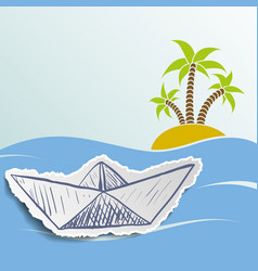 island with palm trees in the ocean vector image