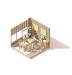 isometric low poly dining room icon vector image