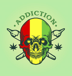 jamaican skull with joint smoke design vector image
