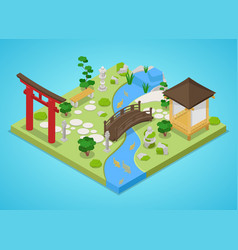 Japanese garden with bridge and trees isometric vector