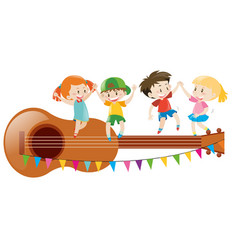 Kids dancing on giant guitar vector