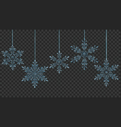 Large transparent christmas hanging snowflakes vector