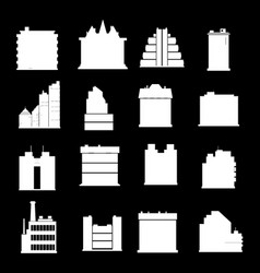 line buildings icons city building hotel and vector image