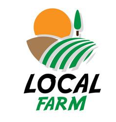 Local farm field sun white background image vector