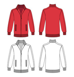 Long sleeve jacket with zipper vector