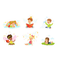 Lovely children read and dream vector
