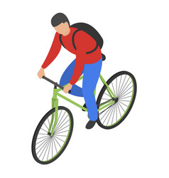 man bike delivery icon isometric style vector image