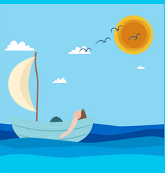 man floating in boat blue sea sun sky background v vector image