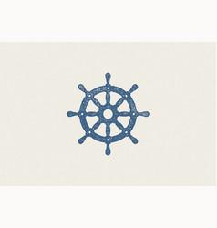marine steering wheel silhouette for logo hand vector image