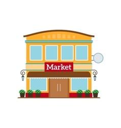 Market flat style icon isolated on white vector image