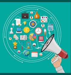 megaphone in hand and different icons vector image