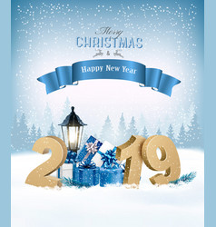 merry christmas background with 2019 and gift vector image