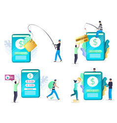 mobile phishing attack set flat isolated vector image